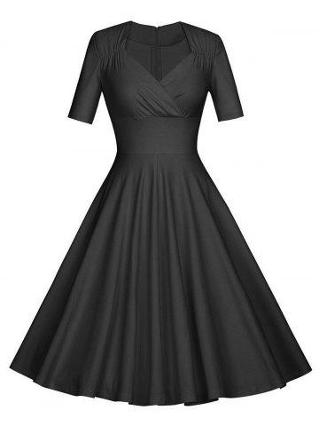 Cheap Vintage Ruched Pinup Skater Party Dress - 2XL BLACK Mobile