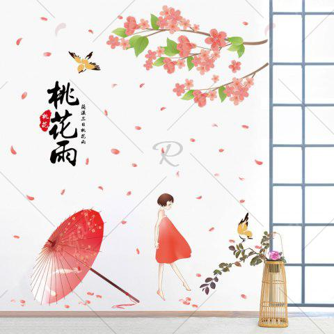 Outfit Removable Flower Girl Pattern Wall Art Sticker - 60*90CM RED Mobile