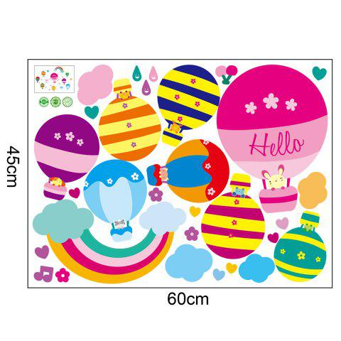Discount Cartoon Hot Air Balloon Wall Art Stickers For Kids Room - 40*60CM COLORMIX Mobile