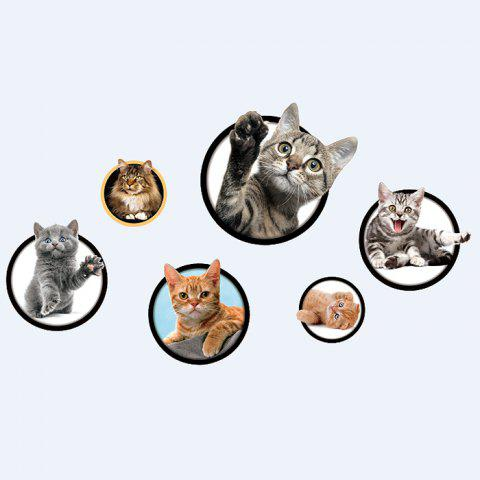 Trendy Cats Removable 3D Wall Art Sticker For Bedrooms - 40*60CM COLORMIX Mobile