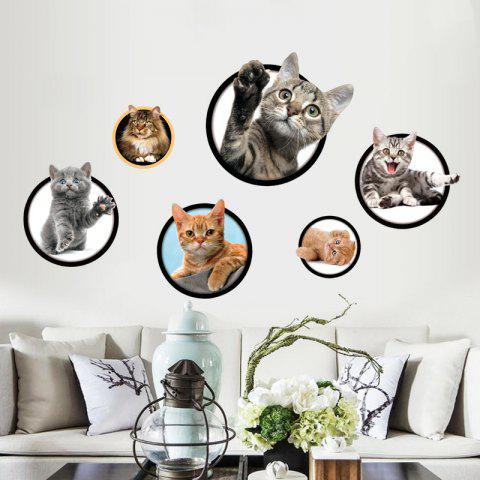 Discount Cats Removable 3D Wall Art Sticker For Bedrooms - 40*60CM COLORMIX Mobile