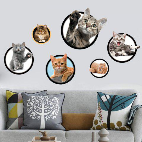 New Cats Removable 3D Wall Art Sticker For Bedrooms - 40*60CM COLORMIX Mobile