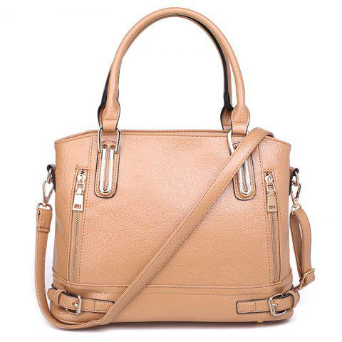 Zippers Belt Buckles Tote Bag - Apricot - 38