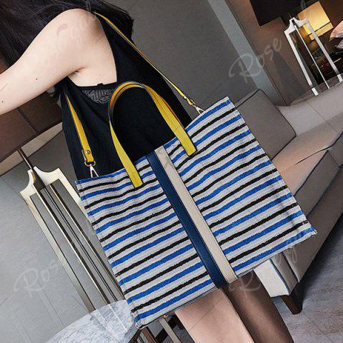 Outfits Striped Canvas Tote Bag - BLUE  Mobile
