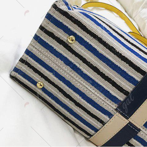 Chic Striped Canvas Tote Bag - BLUE  Mobile