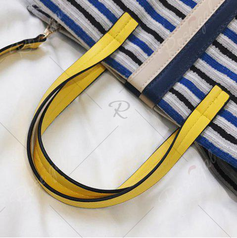 Shops Striped Canvas Tote Bag - BLUE  Mobile