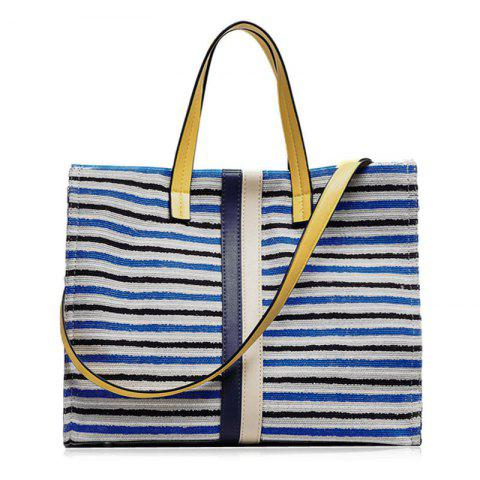 Discount Striped Canvas Tote Bag