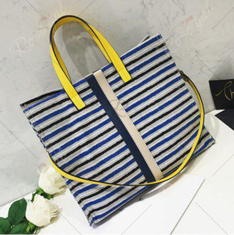Best Striped Canvas Tote Bag - BLUE  Mobile