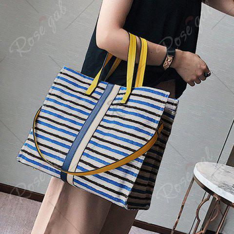 New Striped Canvas Tote Bag - BLUE  Mobile