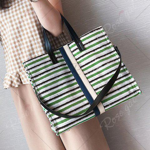 Best Striped Canvas Tote Bag - GREEN  Mobile