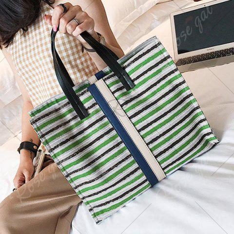 Sale Striped Canvas Tote Bag - GREEN  Mobile