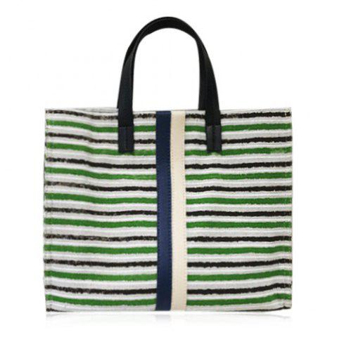 New Striped Canvas Tote Bag - GREEN  Mobile