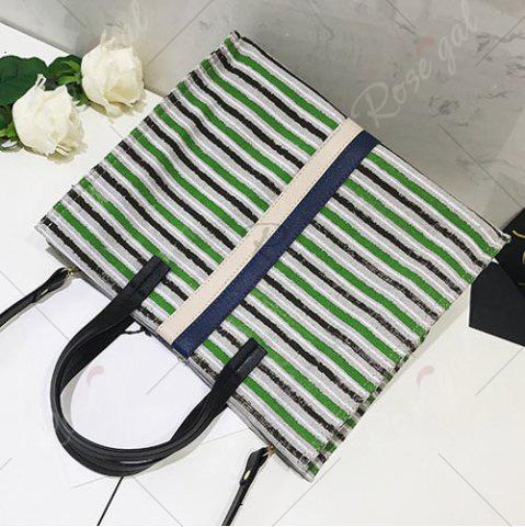Chic Striped Canvas Tote Bag - GREEN  Mobile