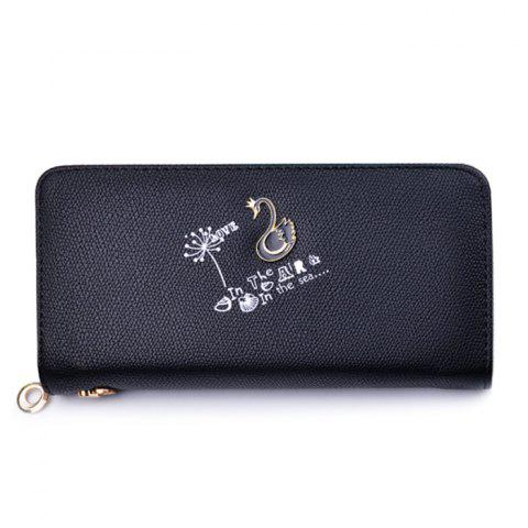 Best Faux Leather Letter Print Clutch Wallet BLACK