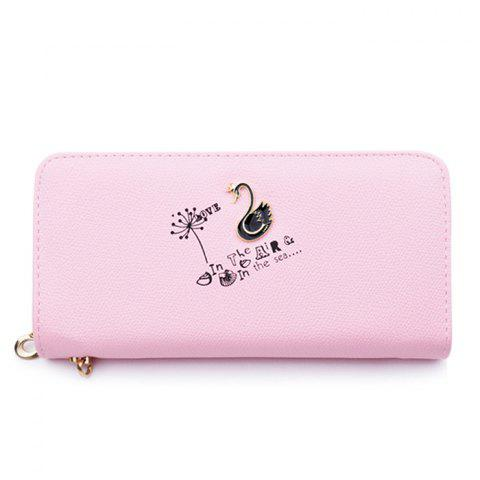 Latest Faux Leather Letter Print Clutch Wallet LIGHT PINK