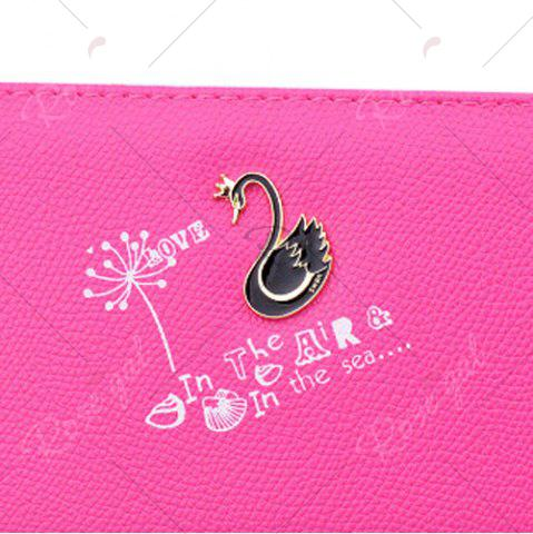 Fashion Faux Leather Letter Print Clutch Wallet - ROSE RED  Mobile
