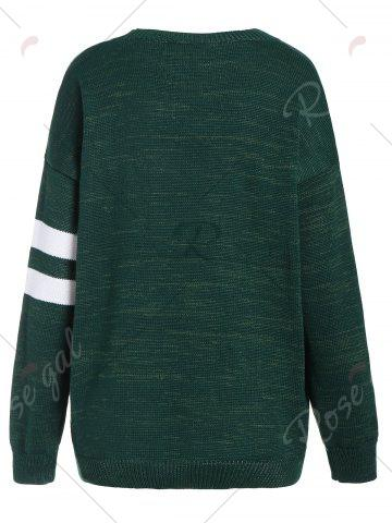Cheap Pullover Knit Plus Size Graphic Sweater - 5XL DEEP GREEN Mobile