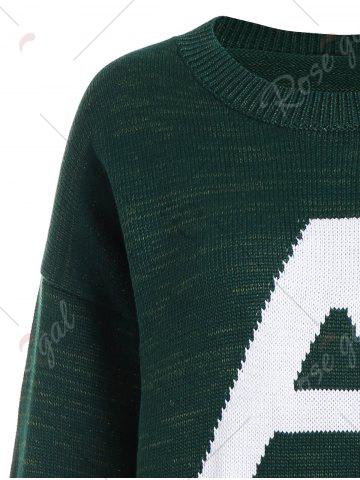 Sale Pullover Knit Plus Size Graphic Sweater - 5XL DEEP GREEN Mobile