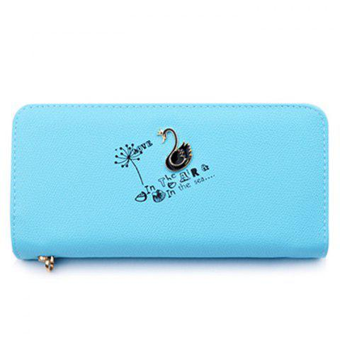 Sale Faux Leather Letter Print Clutch Wallet LAKE BLUE