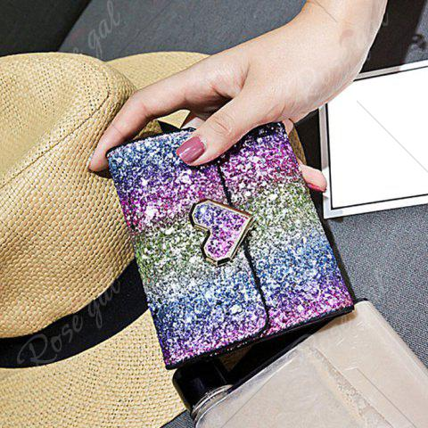 Fashion Sequins Multicolor Metal Small Wallet - BLUE+ROSE RED+PURPLE+GREEN  Mobile