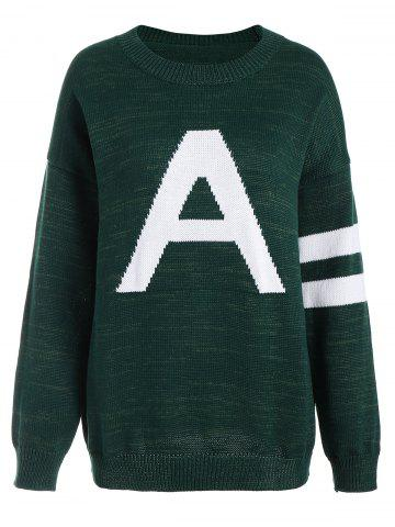 Pullover Knit Plus Size Graphic Sweater - Deep Green - 3xl