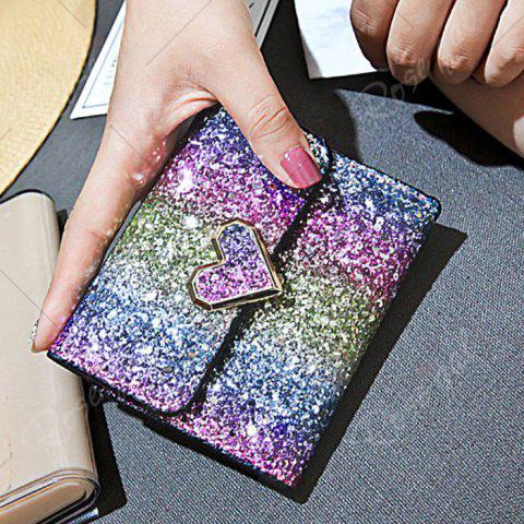 Outfits Sequins Multicolor Metal Small Wallet - BLUE+ROSE RED+PURPLE+GREEN  Mobile