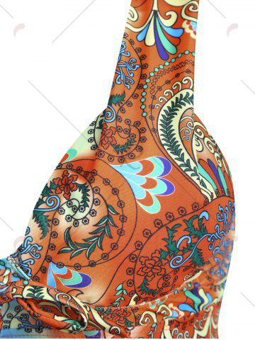Unique Plus Size Backless Printed Tankini Set - XL COLORMIX Mobile