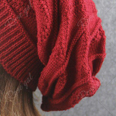 Buy Knitting Wave Striped Beanie - CLARET  Mobile