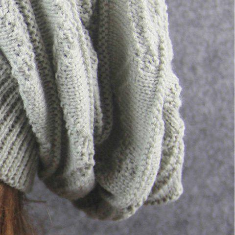 Unique Knitting Wave Striped Beanie - LIGHT GRAY  Mobile