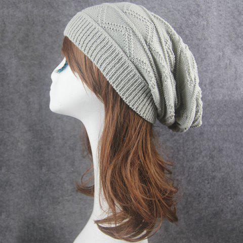 Buy Knitting Wave Striped Beanie - LIGHT GRAY  Mobile