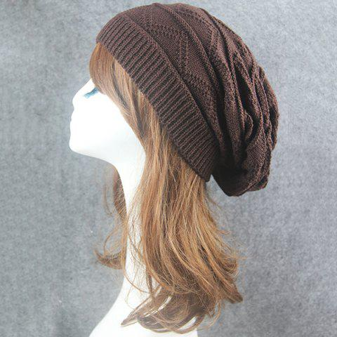 Best Knitting Wave Striped Beanie - COFFEE  Mobile