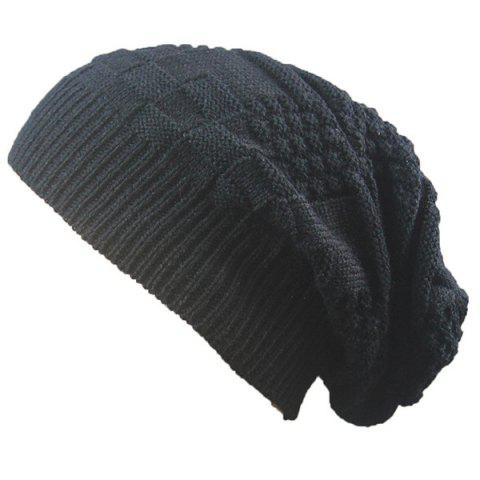 Outfits Draped Striped Checked Knitting Hat - BLACK  Mobile