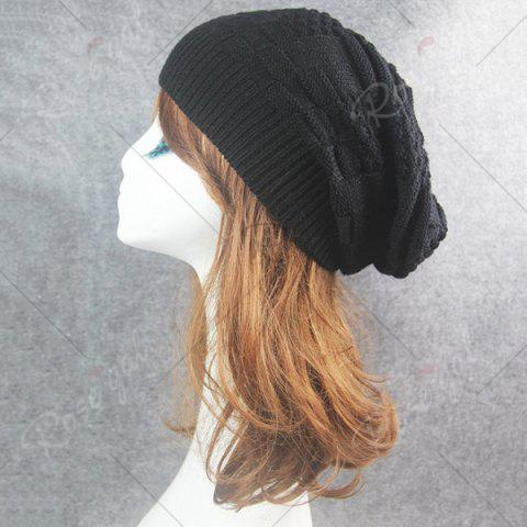 Fancy Draped Striped Checked Knitting Hat - BLACK  Mobile