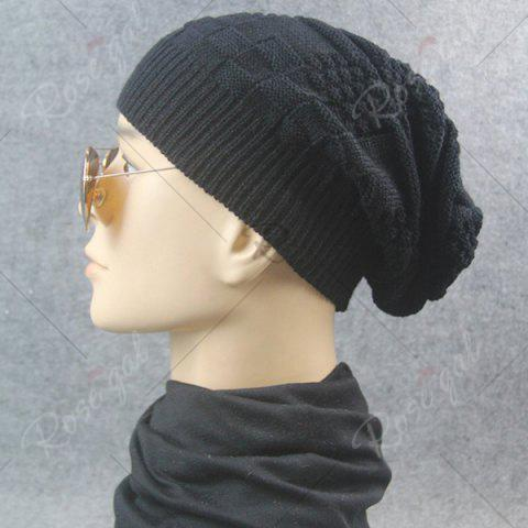 Trendy Draped Striped Checked Knitting Hat - BLACK  Mobile