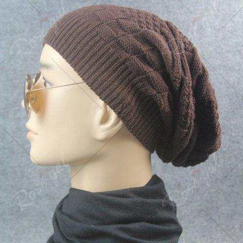 Shop Draped Striped Checked Knitting Hat - COFFEE  Mobile