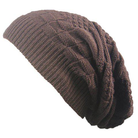 Fancy Draped Striped Checked Knitting Hat - COFFEE  Mobile