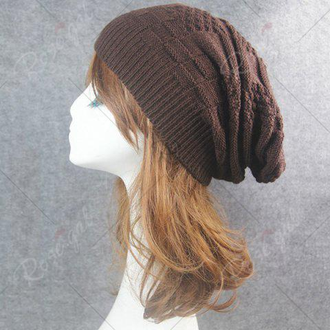 Trendy Draped Striped Checked Knitting Hat - COFFEE  Mobile