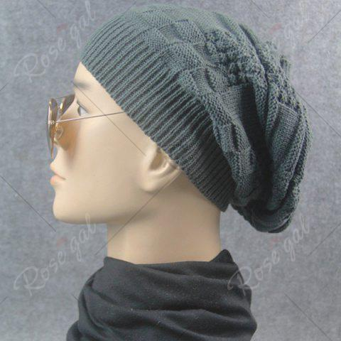 Online Draped Striped Checked Knitting Hat - DEEP GRAY  Mobile