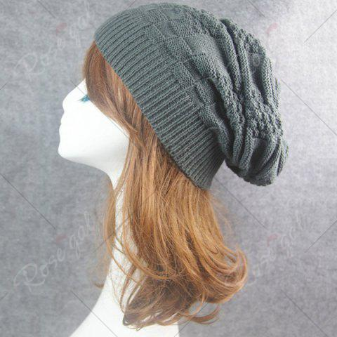 Unique Draped Striped Checked Knitting Hat - DEEP GRAY  Mobile
