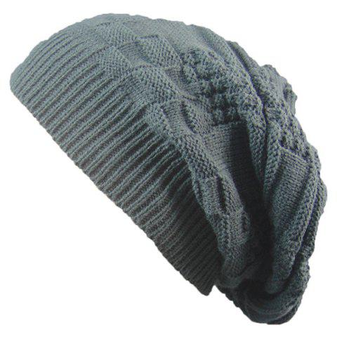 Shop Draped Striped Checked Knitting Hat - DEEP GRAY  Mobile