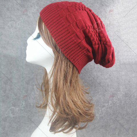 Online Draped Striped Checked Knitting Hat - CLARET  Mobile