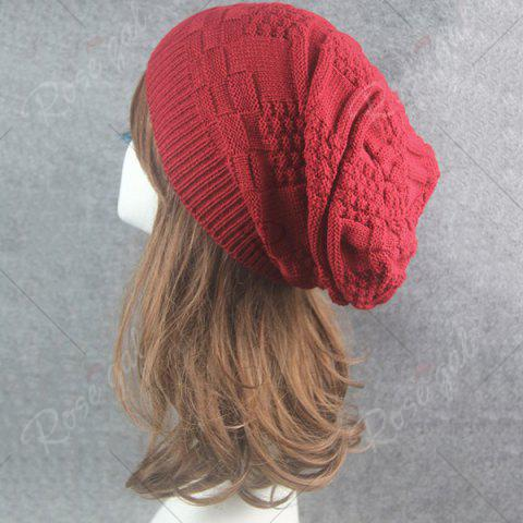 Discount Draped Striped Checked Knitting Hat - CLARET  Mobile