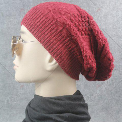 Outfits Draped Striped Checked Knitting Hat - CLARET  Mobile
