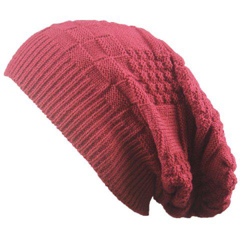 Unique Draped Striped Checked Knitting Hat - CLARET  Mobile