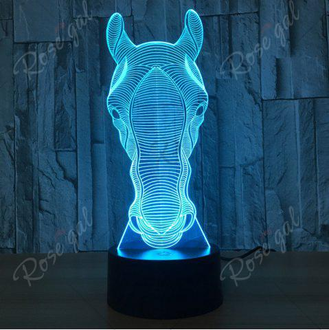 New Horse Head Shape 7 Colors Change Touch 3D Night Light - TRANSPARENT  Mobile
