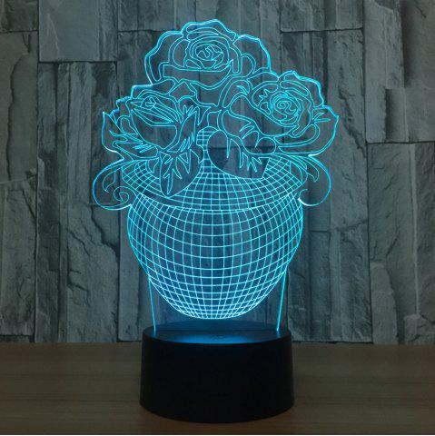 Affordable 3D Visual Rose Vase Shape Colors Change Touch Night Light TRANSPARENT