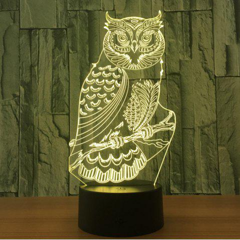 Outfit Owl Shape 7 Colors Changing 3D Night Light - TRANSPARENT  Mobile