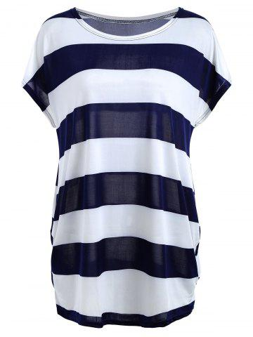 Outfits Color Block Stripe Tunic T-shirt PURPLISH BLUE ONE SIZE