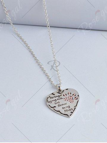 Unique Heart Engraved Forever Claw Footprint Necklace - RED  Mobile