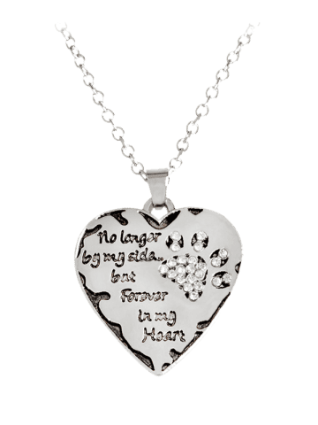 Unique Heart Engraved Forever Claw Footprint Necklace - WHITE  Mobile